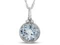Finejewelers 8mm Round Bezel Set White Topaz Pendant Necklace - Chain Included