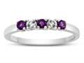 2.5mm Amethyst and White Topaz Band / Ring