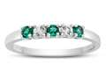 2.5mm Created Emerald and White Topaz Band / Ring