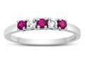 Finejewelers 2.5mm Created Ruby and White Topaz Band / Ring