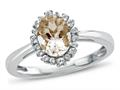 Finejewelers 10k White Gold 8x6mm Genuine Morganite with White Topaz accent stones Halo Ring