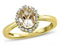 Finejewelers 10k Yellow Gold 8x6mm Oval Genuine Morganite with White Topaz accent stones Halo Ring