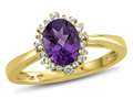 10kt Yellow Gold Oval Amethyst with White Topaz accent stones Halo Ring