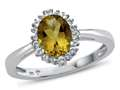 10kt White Gold Oval Citrine with White Topaz accent stones Halo Ring