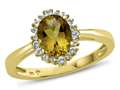 10kt Yellow Gold Oval Citrine with White Topaz accent stones Halo Ring