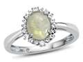 10kt White Gold Oval Opal with White Topaz accent stones Halo Ring