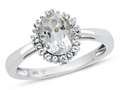 10kt White Gold Oval White Topaz with White Topaz accent stones Halo Ring