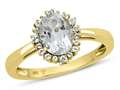 10kt Yellow Gold Oval White Topaz with White Topaz accent stones Halo Ring