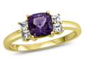 6x6mm Cushion Amethyst and White Topaz Ring