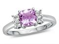Finejewelers 6x6mm Cushion-Cut Created Pink Sapphire and White Topaz Ring
