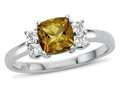 6x6mm Cushion Citrine and White Topaz Ring