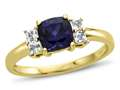 6x6mm Cushion Created Sapphire and White Topaz Ring