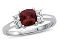 Finejewelers 6x6mm Cushion Created Ruby and White Topaz Ring