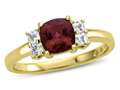 6x6mm Cushion Created Ruby and White Topaz Ring
