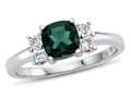 6x6mm Cushion Created Emerald and White Topaz Ring
