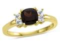6x6mm Cushion Garnet and White Topaz Ring