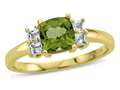 6x6mm Cushion Peridot and White Topaz Ring