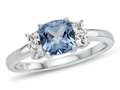6x6mm Cushion Swiss Blue Topaz and White Topaz Ring