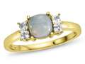 6x6mm Cushion Created Opal and White Topaz Ring