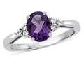 8x6mm Oval Amethyst and White Topaz Ring