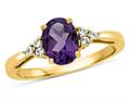 Finejewelers 10k Yellow Gold 8x6mm Oval Amethyst and White Topaz Ring