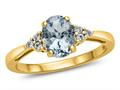Finejewelers 10k Yellow Gold 8x6mm Oval Aquamarine and White Topaz Ring