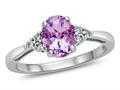 Finejewelers 10k White Gold 8x6mm Oval Created Pink Sapphire and White Topaz Ring
