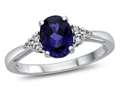 8x6mm Oval Created Sapphire and White Topaz Ring