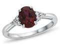 Finejewelers 10k White Gold 8x6mm Oval Created Ruby and White Topaz Ring