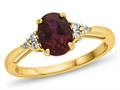 Finejewelers Solid 10k Yellow Gold 8x6mm Oval Created Ruby and White Topaz Ring