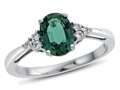 8x6mm Oval Created Emerald and White Topaz Ring