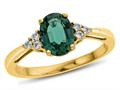 Finejewelers 10k Yellow Gold 8x6mm Oval Created Emerald and White Topaz Ring