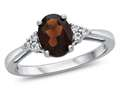 8x6mm Oval Garnet and White Topaz Ring
