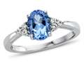 8x6mm Oval Swiss Blue Topaz and White Topaz Ring