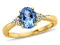 Finejewelers 10k Yellow Gold 8x6mm Oval Swiss Blue Topaz and White Topaz Ring
