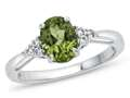 8x6mm Oval Peridot and White Topaz Ring