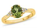 Finejewelers 10k Yellow Gold 8x6mm Oval Peridot and White Topaz Ring