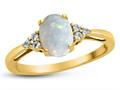 Finejewelers 10k Yellow Gold 8x6mm Oval Created Opal and White Topaz Ring