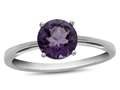 10k White Gold 7mm Round Amethyst Ring