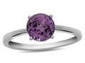 Finejewelers 10k White Gold 7mm Solitaire Round Created Pink Sapphire Ring
