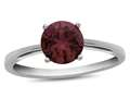 Finejewelers 10k White Gold 7mm Solitaire Round Created Ruby Ring