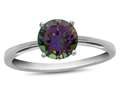 10k White Gold 7mm Round Mystic Topaz Ring