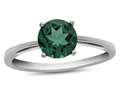 10k White Gold 7mm Round Simulated Emerald Ring