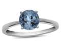 10k White Gold 7mm Round Swiss Blue Topaz Ring