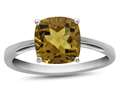 10k White Gold 7mm Cushion Citrine Ring