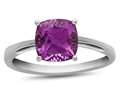 Finejewelers 10k White Gold 7mm Solitaire Cushion-Cut Created Pink Sapphire Ring