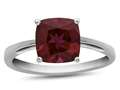 Finejewelers 10k White Gold 7mm Solitaire Cushion Created Ruby Ring