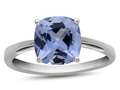 10k White Gold 7mm Cushion Simulated Aquamarine Ring