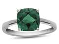 10kt White Gold 7mm Cushion Simulated Emerald Ring