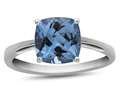 10k White Gold 7mm Cushion Swiss Blue Topaz Ring